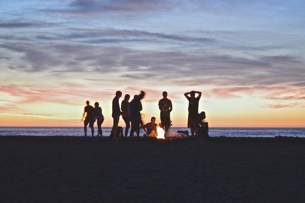 campfire, beach, people